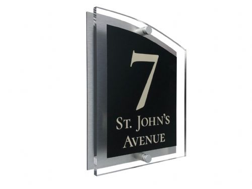 Arc Shape - Clear Acrylic House Sign - Black Colour with Double Cream text in Font  2